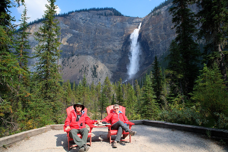 M - Selfie-Holding Hands in front of Takakkaw Falls,Yoho NP, Alberta