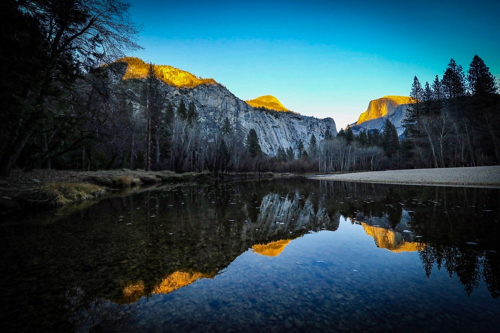 M - Reflections in Calm Merced River in Yosemite