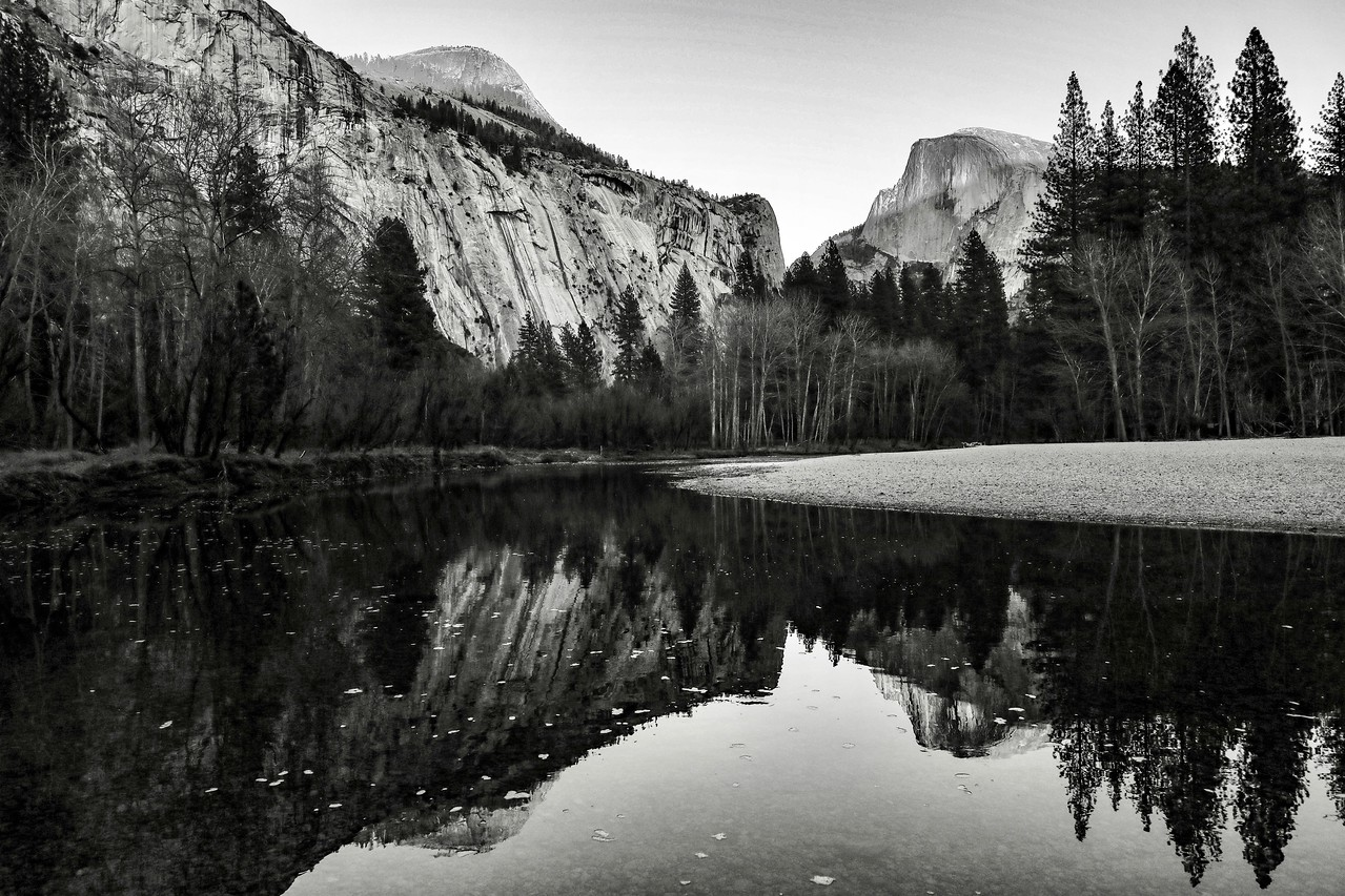 M - B&W version of Half Dome reflections