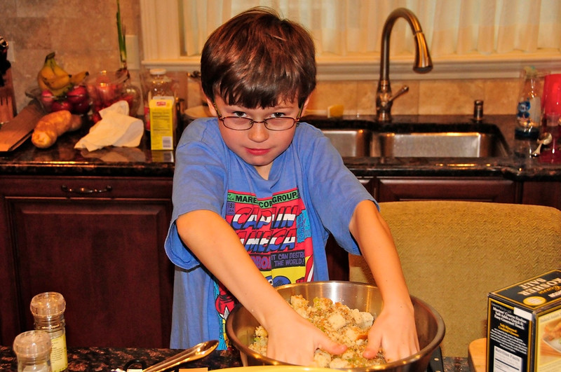 W - Chef making stuffing
