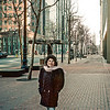 Elda poses on a street in San Francisco, 1989.