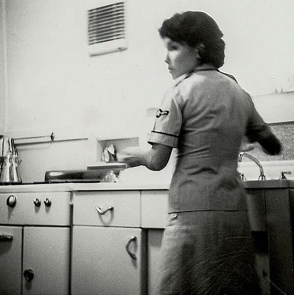 Photo of my wife, Elda, in Biloxi, Miss., 1967. She was also in the Air Force at that time. This is the kitchen of the little house we rented off-base.