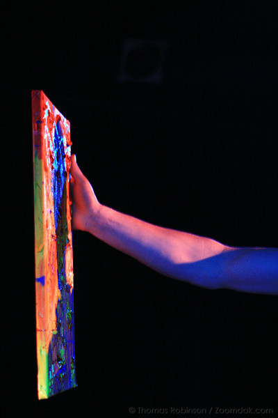 """DreamScape – 28 February 2008 – Matt Park contemplates a painting during his senior project performance of DreamScape. <a href=""""http://multimedia.ecola.us/"""">Click here to see the multimedia.</a>"""