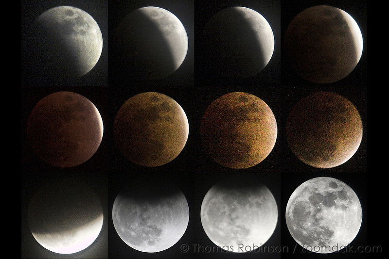 Lunar Eclipse Sequence – 20 February 2008 - Sequence of shots showing the total lunar eclipse on the 20th of February, 2008 from Spokane, Washington.