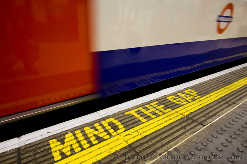 Mind the Gap – 24 September 2008 – A underground tube train pulls away from the platform.