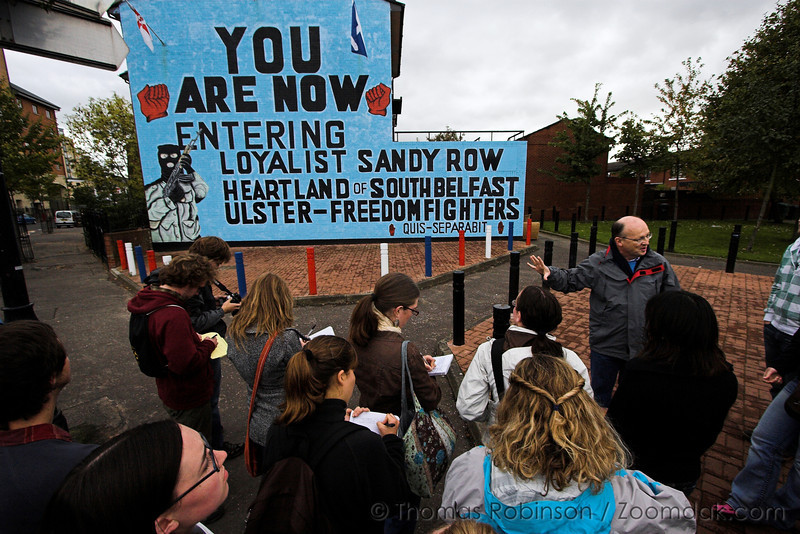 Belfast – 5 October 2008 – Students take notes during a guided tour of Belfast, Ireland. While in Belfast, students witnessed the division between unionists and loyalists that is intensely present.