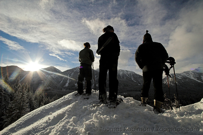 Looking Over Tall Timber – 10 January 2007 – Jessie Fishburn, Jessica Robinson and Stan Fishburn stand silhouetted at the top of Eagle's Crest.