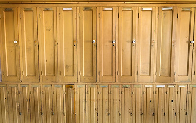 Old Vintage Wooden Lockers Wide