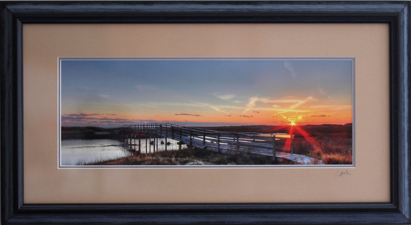 Ridgevale Beach Bridge photograph in a 10 x 20 inch Black Grey Wire Brush frame. Photo size 6 x 16 inches.Tru Vue conservation grade glass with 99% UV protection.