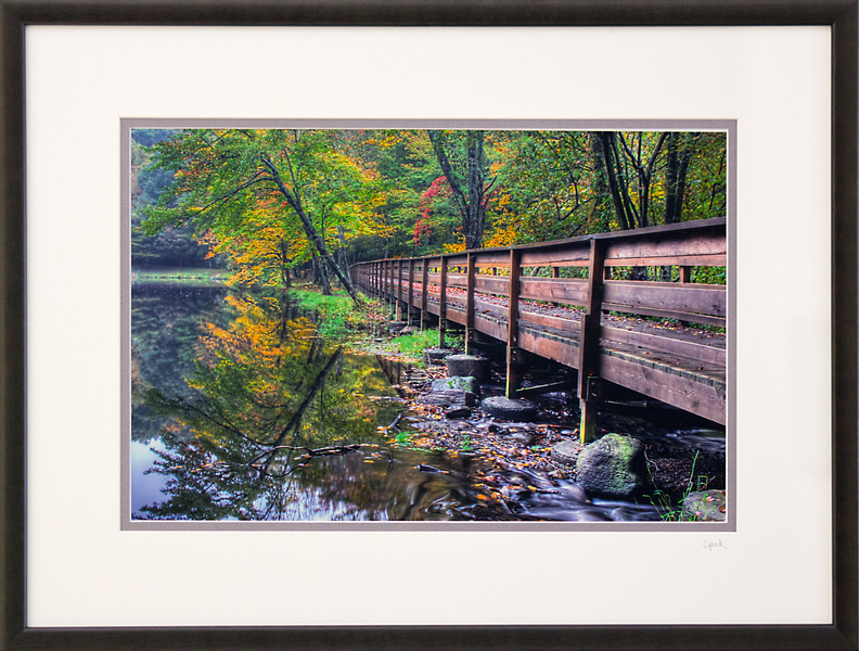 Wolfe Park Bridge<br /> 18 x 24 inch frame. 12 x 18 inch photo size.<br /> Tru Vue conservation grade glass with 99% UV protection