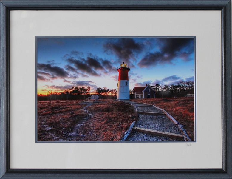 Nauset Beach Lighthouse in a 18x 24 inch Black Grey Wire Brush frame. Photo size 12 x 18 inches.Tru Vue conservation grade glass with 99% UV protection