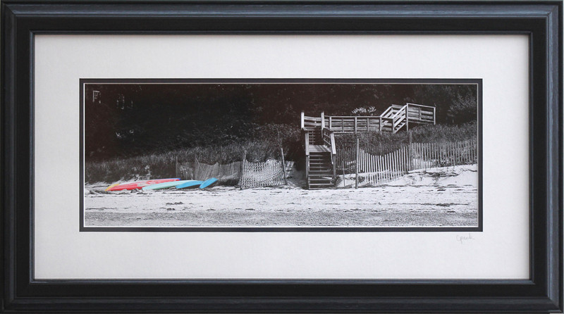 Saints Landing Beach Kayaks in a 10 x 20 inch Black Grey Wire Brush frame. Photo size 6 x 16 inches.Tru Vue conservation grade glass with 99% UV protection.