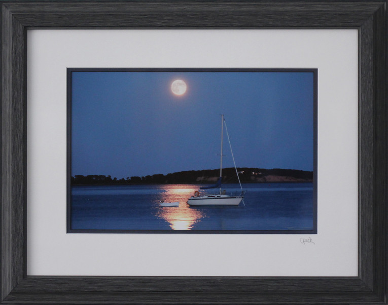 Sailboat on Pleasant Bay photograph in a 12 x 16 Black Driftwood frame. Photo size 8 x 12 inches.Tru Vue conservation grade glass with 99% UV protection