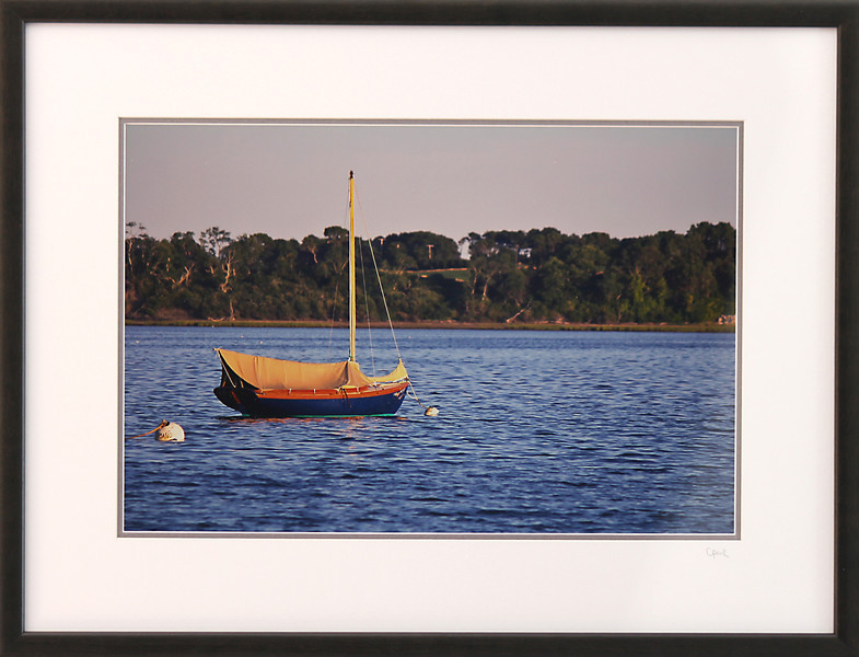 Sailboat in Pleasant Bay<br /> 18 x 24 inch frame. 12 x 18 inch photo size.<br /> Tru Vue conservation grade glass with 99% UV protection.