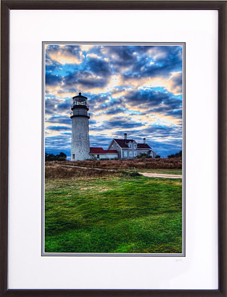 Highland Lighthouse photograph in a 18x24 inch Black Satin frame. Photo size 12 x 18 inches.Tru Vue conservation grade glass with 99% UV protection.