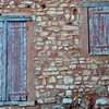 Wall in Roussillon, a small village outside of Avignon that's characterized by its red soil/walls.