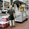 John at the lunch cart I frequent downtown. I didn't have the crutch of my digital camera and its light meter, so I guessed at the exposure settings.