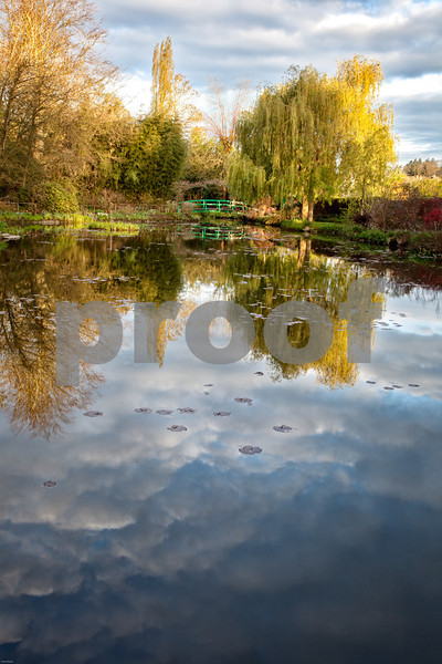 Cloud Lilies<br /> Monet's Garden Lily Pond and Bridge<br /> Giverny, France