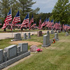 The cemetery had almost 400 flags lining the roads.