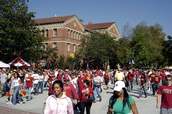 The crowds head for the Coliseum...