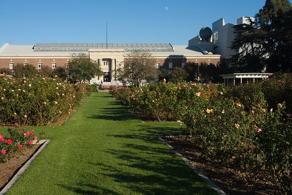 We walk through the Rose Garden and California Science Center en route to the Coliseum's south parking lot