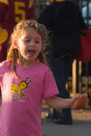 Sophia runs around in her new shirt