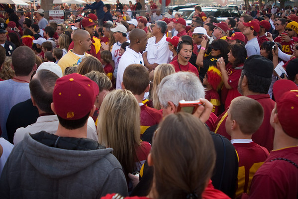 """Trying to get a good spot to view the """"Trojan Walk"""" is proving to be impossible"""