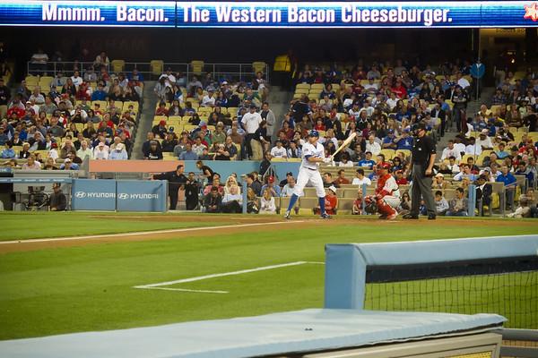 3 up, 3 down.  Leading off for the Dodgers, left fielder Scott Podsednik