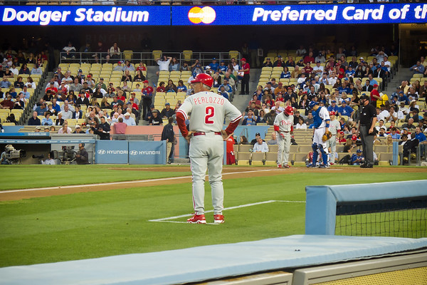 Jimmy Rollins, the Phillies' short stop, is the lead off batter.  Play ball!