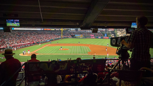 I decide to stretch my legs well ahead of the 7th inning stretch.  I pause when I hear Mike Trout is stepping up to the plate.