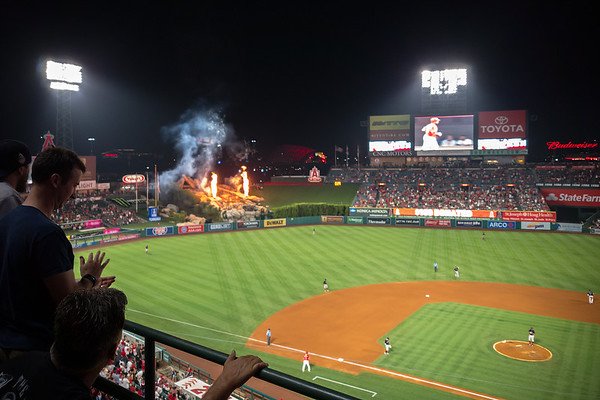 What's up with my phone's lack of focus?  This shot is the sharper of two I took of the home run fireworks
