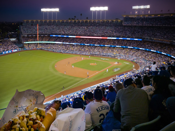 """The view from our seats isn't much to speak about, but the """"Going Yard"""" sausage is delicous!  It's the bottom of the 2nd and the Dodgers have Barnes on second base, Hill on first, and Chris Taylor steps to the plate."""