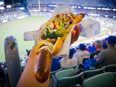 When I reach my seat, I get a better look at my dinner.  This special is no joke...a 16.5 inch jalapeño bacon cheddar sausage topped with roasted corn, avocado relish, grilled onions with crema