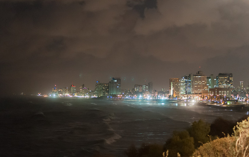 A nighttime view of Tel Aviv, as seen from the city of Old Jaffa, Israel.