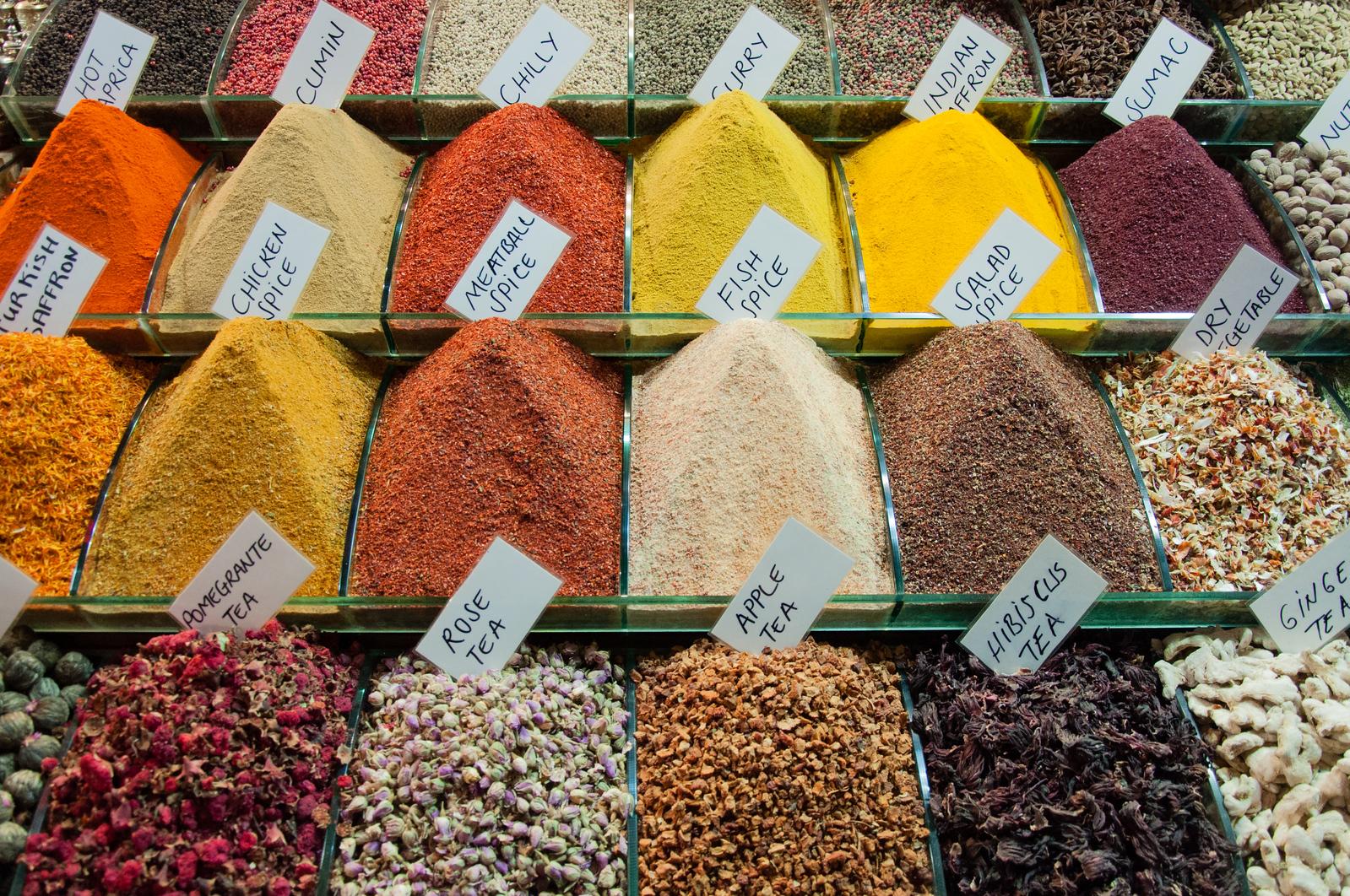 The Spice Bazaar in historic Istanbul, Turkey.