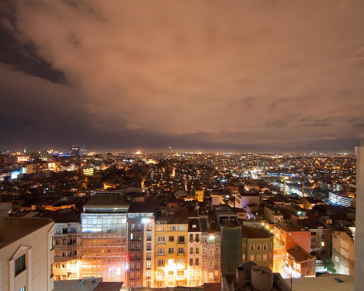 The nighttime sky over Istanbul, Turkey.