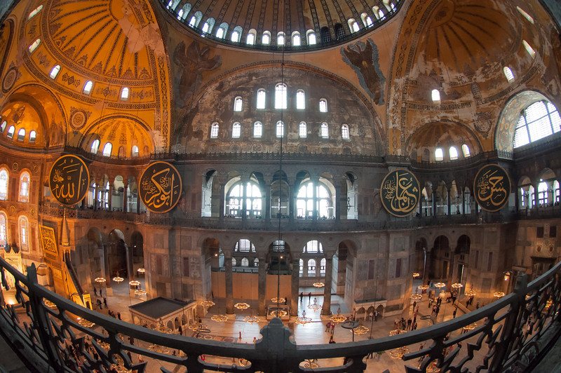 Inside the Hagia Sophia in historic Istanbul, Turkey.