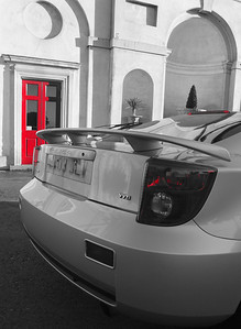 Black and White with the Red filter, i wanted to pick out the red door and lights of the car, it worked very well