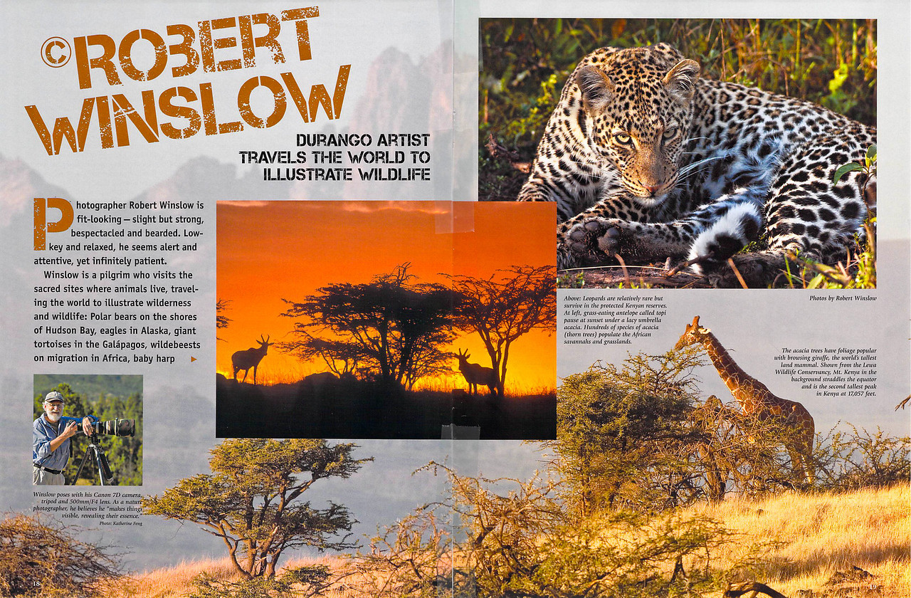Here's the opening spread for an article about Robert in the current issue of the Durango Magazine