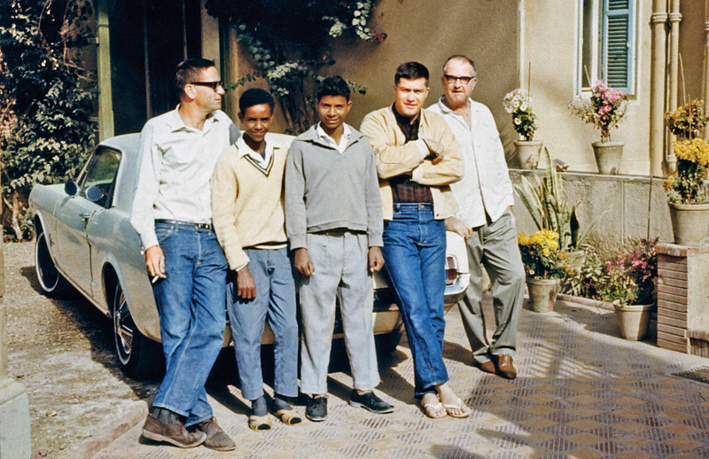 Egypt, Cairo, Ma'adi (1966) - The whole mad mob at 19 Sharia Port Said. From left: me, Abdullah, Sayeed, Bill Palmer and Lee Newell. The Mustang was Lee's.