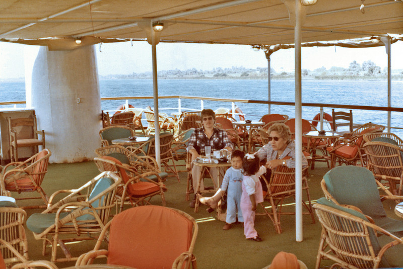 Egypt, Nile Cruise (1982) - Grant, Carey, Adele and Ailsa on the promenade deck of the M.V. Horus.