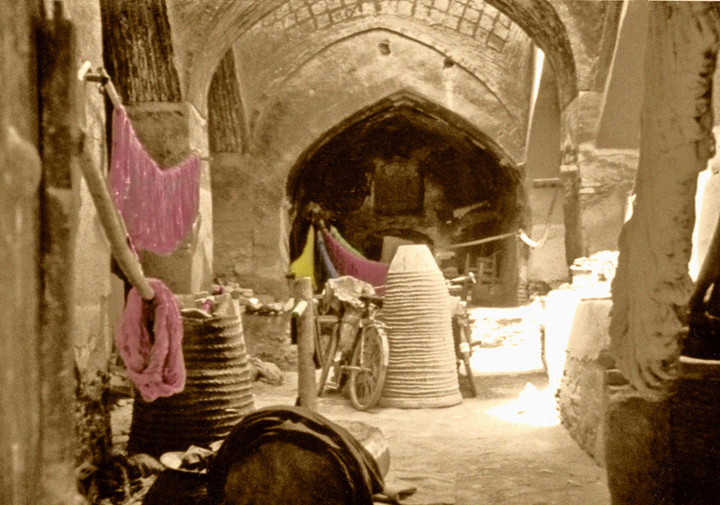Iran, Isfahan (1958) - Interior of a dyer's shop in the Great Bazaar.