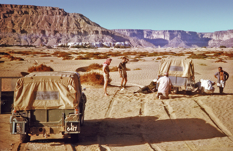 South Arabia (1962) - Stuck in 'fesh-fesh' in Wadi Hadhramaut. City of Shibam is visible in the distance.