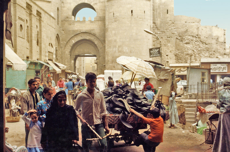 Egypt, Islamic Cairo (1981) - South gate of the old city - the Bab Zuweila - viewed from outside.