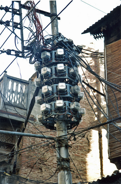 Pakistan, Lahore (1958) local electrical wiring system.