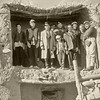 Iran, Dasht-i-Kavir, village of Torut (1959) - What was left of the mayor's house after the earthquake. The mayor is wearing the long coat and the trilby. My fat, queer, colourblind geological assistant, Hooshang Zardosht, is at extreme rignt.