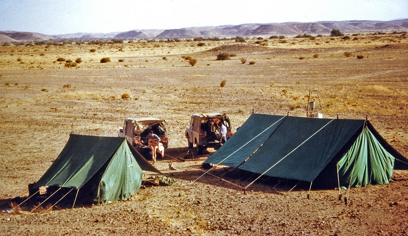 South Arabia (1964) - Camp in the Northern Desert (Sahra al Shumal). Northern Jol in distance.