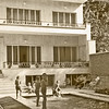 Iran - Tehran (1958) - Our flat in Tajrich and pool. Notti and Helga lived upstairs. Two of the children are Raul and Pepi, sons of our next door (left of picture) neighbours, Bill and Delma Lewis. Glass French doors off terrace lead into our lounge.