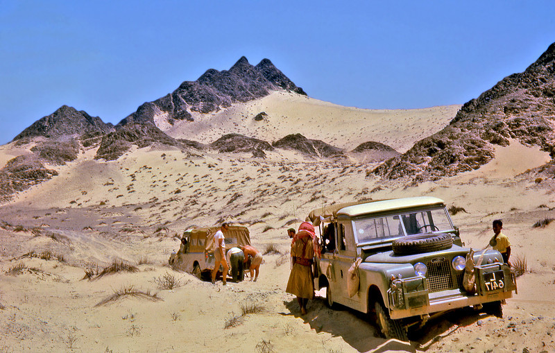South Arabia (1962) - Winching a Land Rover out of the sand, Plateau of Mafidh, West Aden Protectorate.