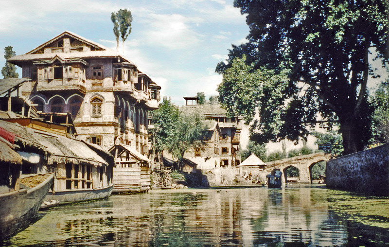 India, Kashmir (1958) - a typical canal scene in Srinagar.